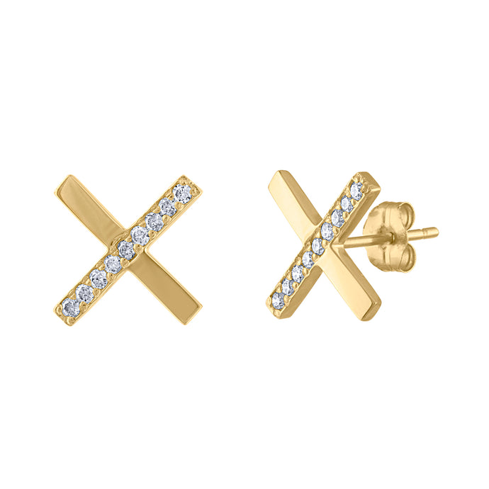 Diamond X Earrings - Yellow Gold