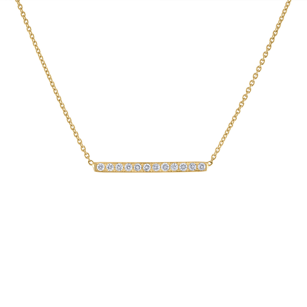 Pavé Bar Necklace - Yellow Gold