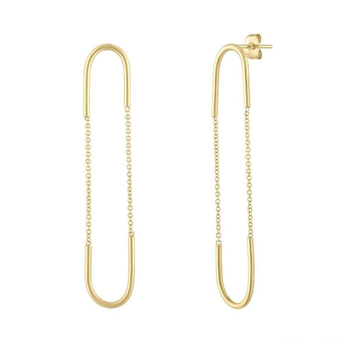 Chain & Wire Earrings - Yellow Gold