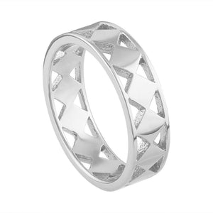 Cutout Geo Ring - White Gold