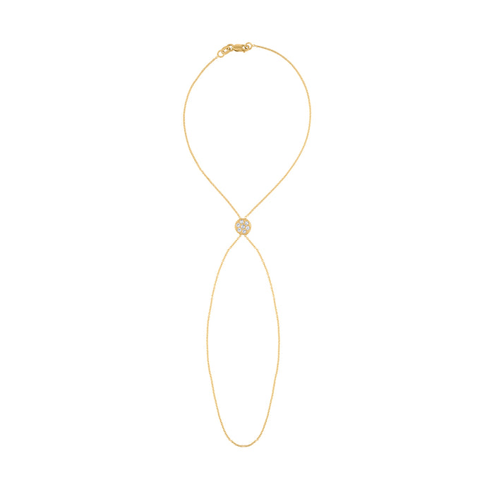 Pavé Circle Hand Chain - Yellow Gold