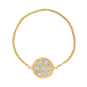 Pavé Circle Chain Ring - Yellow Gold