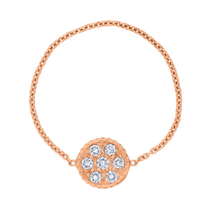 Pavé Circle Chain Ring - Rose Gold
