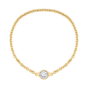Single Diamond Chain Ring in Gold