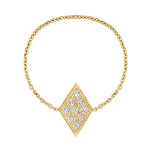 Pavé Diamond Chain Ring - Yellow Gold