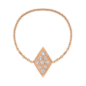 Pavé Diamond Chain Ring - Rose Gold