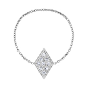 Pavé Diamond Chain Ring - White Gold