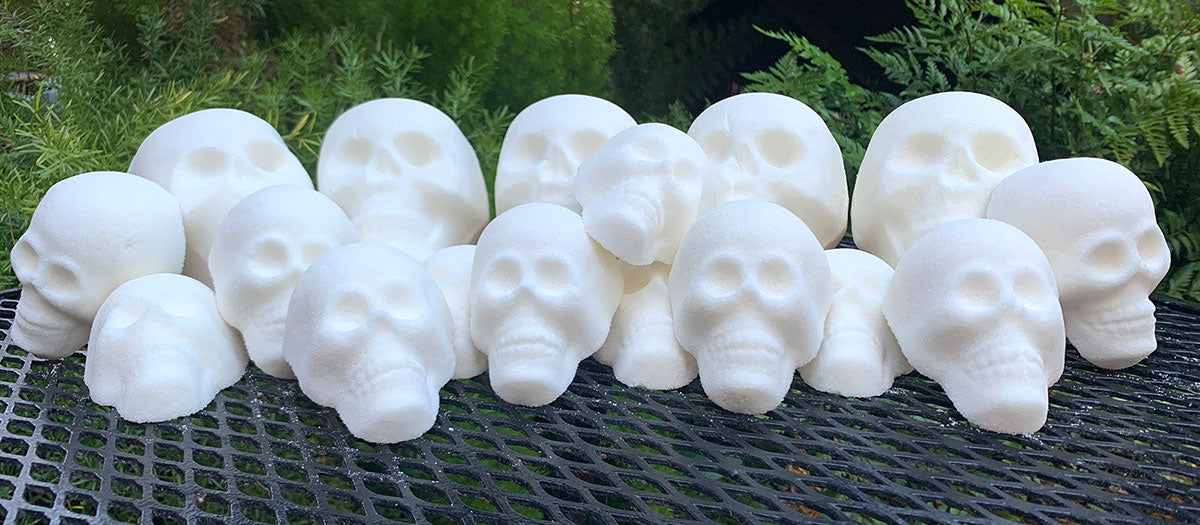 undecorated sugar skulls