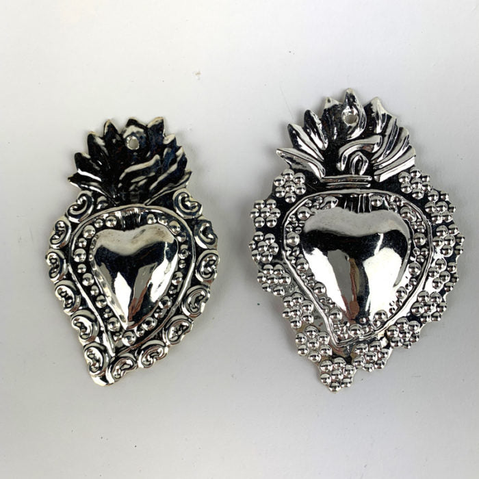 Amor Silver Heart Milagro 2 1/4 inch
