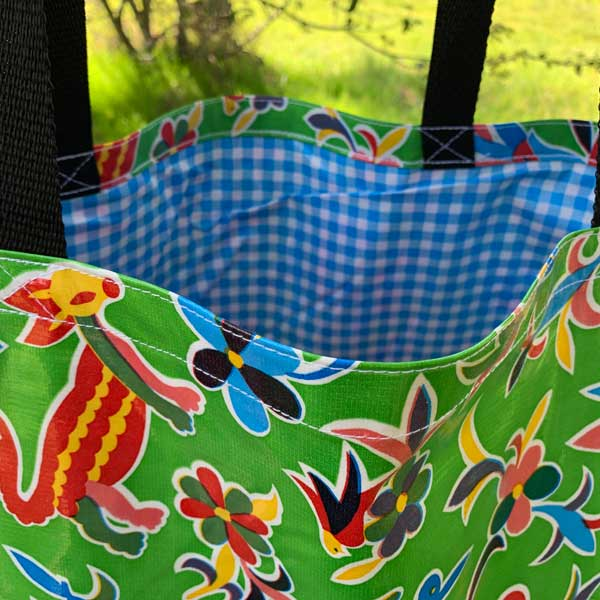 Mexican Oilcloth Market Bag – Animales on Lime