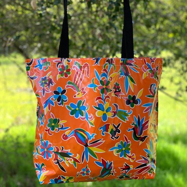 Mexican Oilcloth Market Bag – Animales on Orange