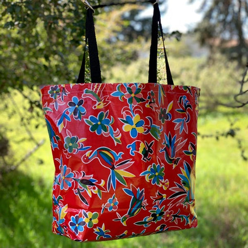 Mexican Oilcloth Market Bag – Animales on Red