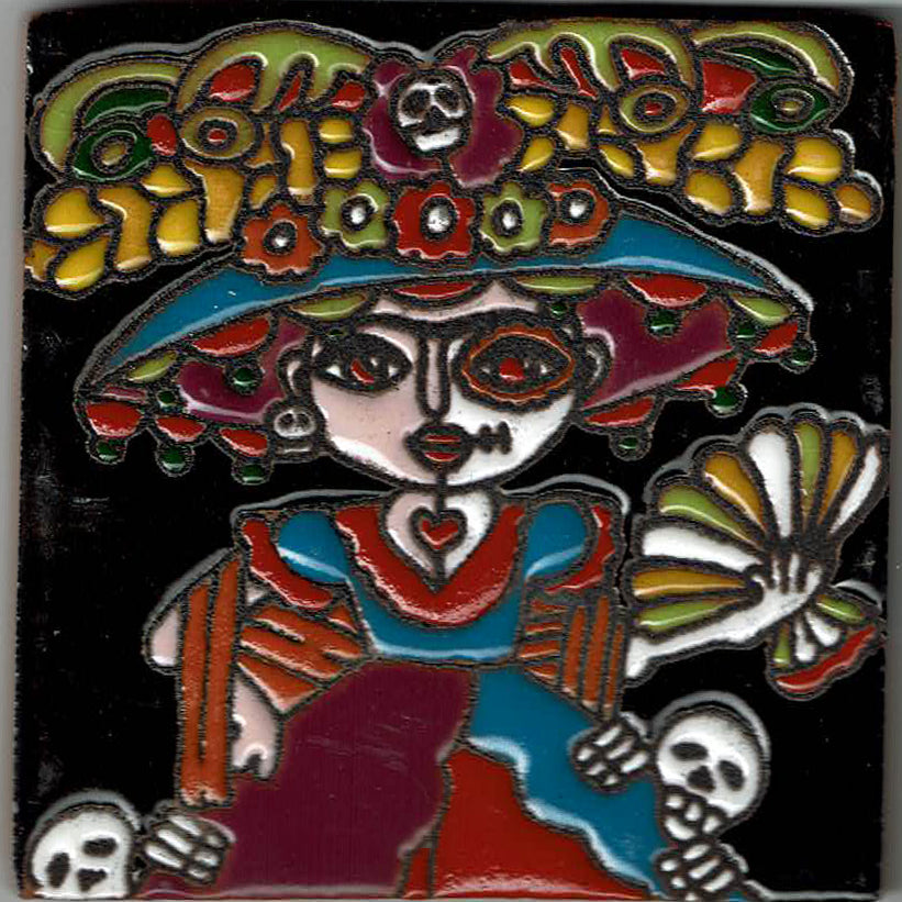 Black Catrina Mexican Tile