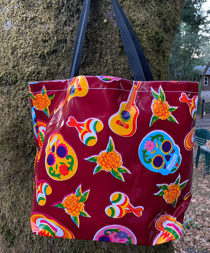 Sugar Skull Tote Bag - Burgundy