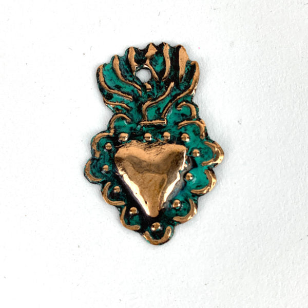 Copper Flaming Heart Milagro - Mini 1 <sup>1/4</sup> inch