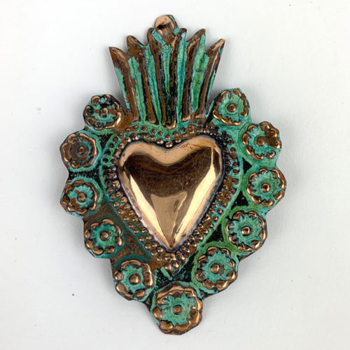 Copper Flaming Heart Milagro - 4 inch