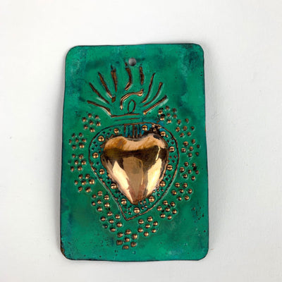 Copper Flaming Heart Milagro Plaque