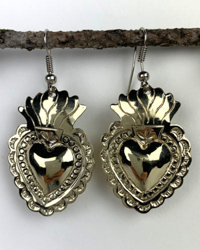 Flaming Heart Milagro Earrings