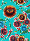 Mexican Oilcloth - Floral on Aqua