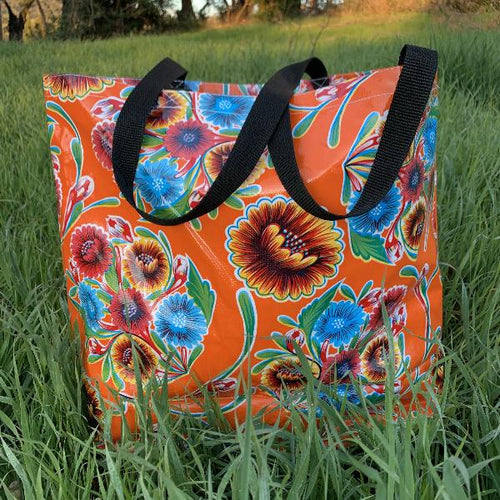 Mexican Oilcloth Market Bag – Floral on Orange