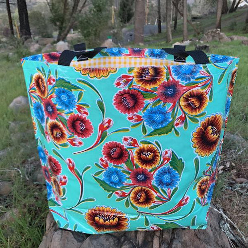 Mexican Oilcloth Market Bag – Floral on Aqua