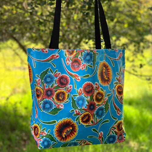 Mexican Oilcloth Market Bag – Floral on Blue