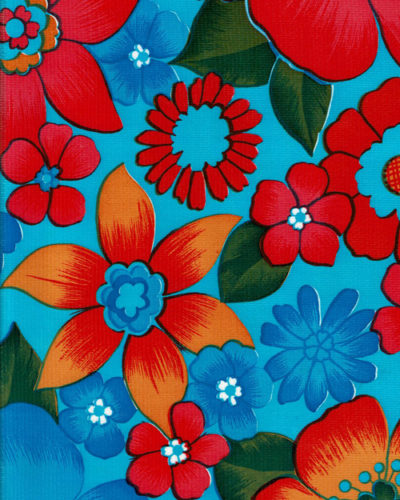 Mexican Oilcloth - Flower Fields on Light Blue (C)