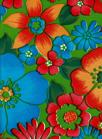 Mexican Oilcloth - Flower Fields on Lime (C)