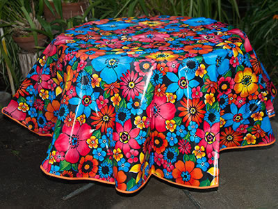 Round Oilcloth Tablecloth – Flower Fields on Black