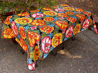 Picnic Table Oilcloth – Frida on Black