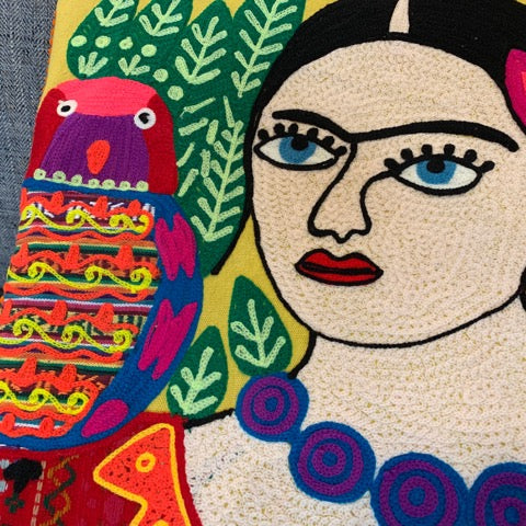 Frida Pillow with Purple Necklace