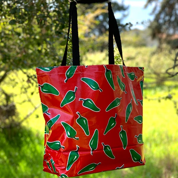 Mexican Oilcloth Market Bag – Green Chile Peppers on Red