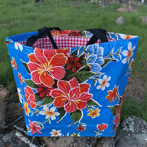 Mexican Oilcloth Market Bag – Hibiscus on Blue