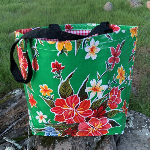 Mexican Oilcloth Market Bag – Hibiscus on Green