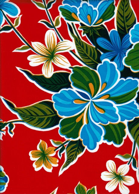 Mexican Oilcloth - Hibiscus on Red