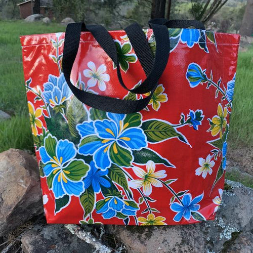 Mexican Oilcloth Market Bag – Hibiscus on Red