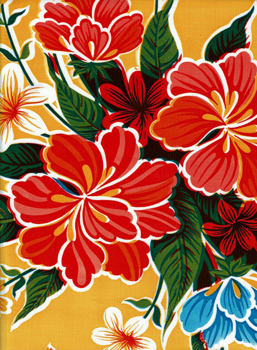 Mexican Oilcloth - Hibiscus on Yellow