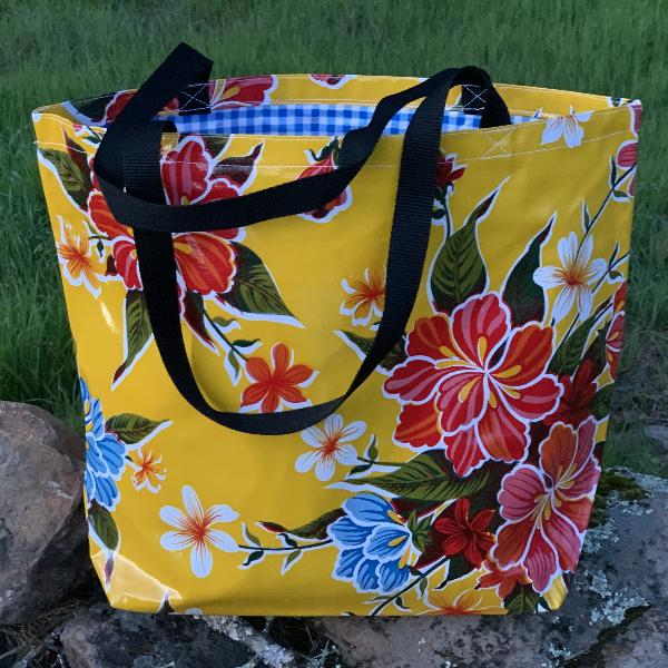 Mexican Oilcloth Market Bag – Hibiscus on Yellow