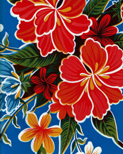 Mexican Oilcloth - Hibiscus on Royal Blue