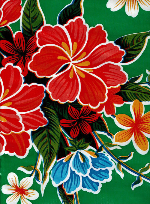 Mexican Oilcloth - Hibiscus on Green