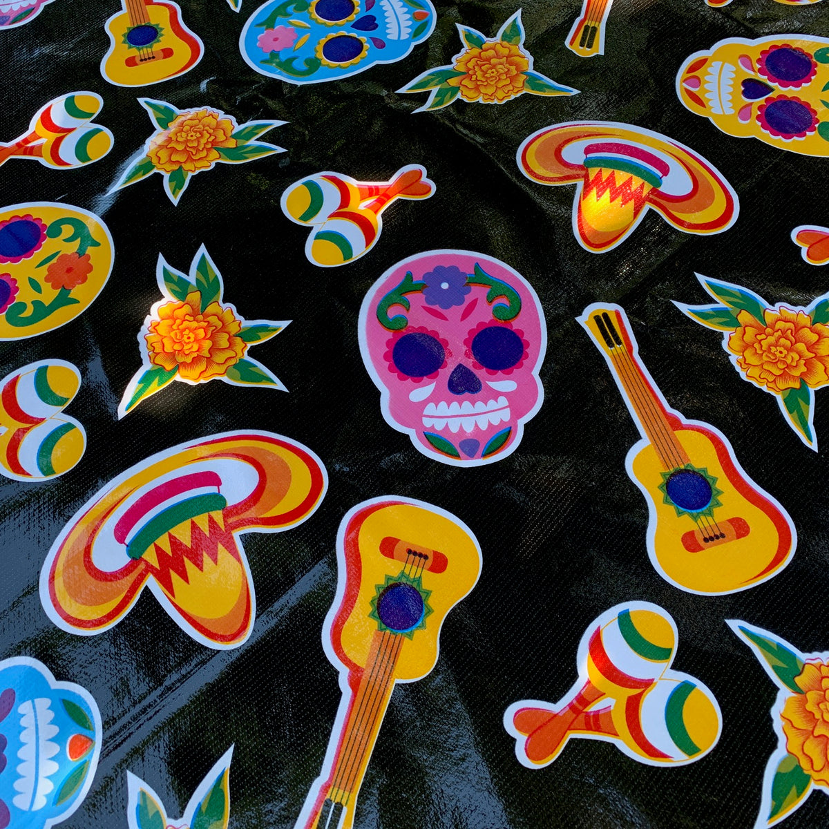 Oilcloth Picnic Tablecloth – Sugar Skull Black on Black