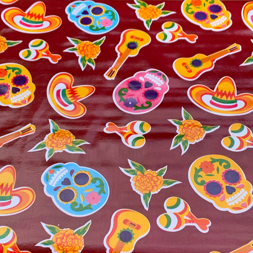 Mexican Oilcloth - Sugar Skull on Wine