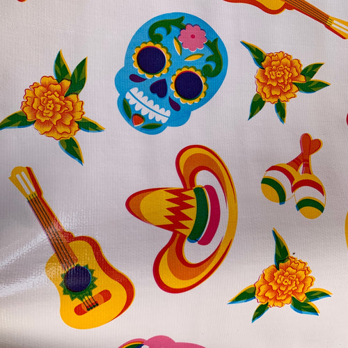 Mexican Oilcloth - Sugar Skull on White