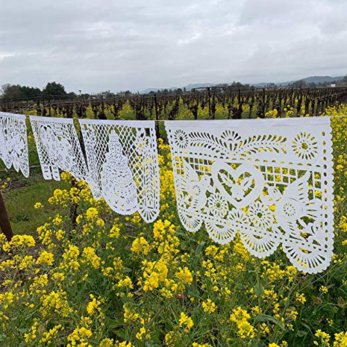 Large White Wedding Papel Picado Banner - Dozen