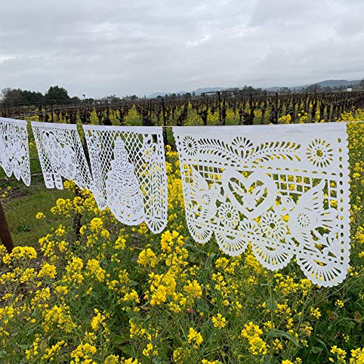 Large White Wedding Papel Picado Banner