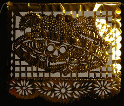 Metallic Mylar Day of the Dead Cut Paper Banner