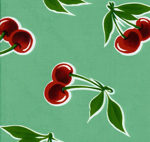 Mexican Oilcloth - Cherries on Aqua