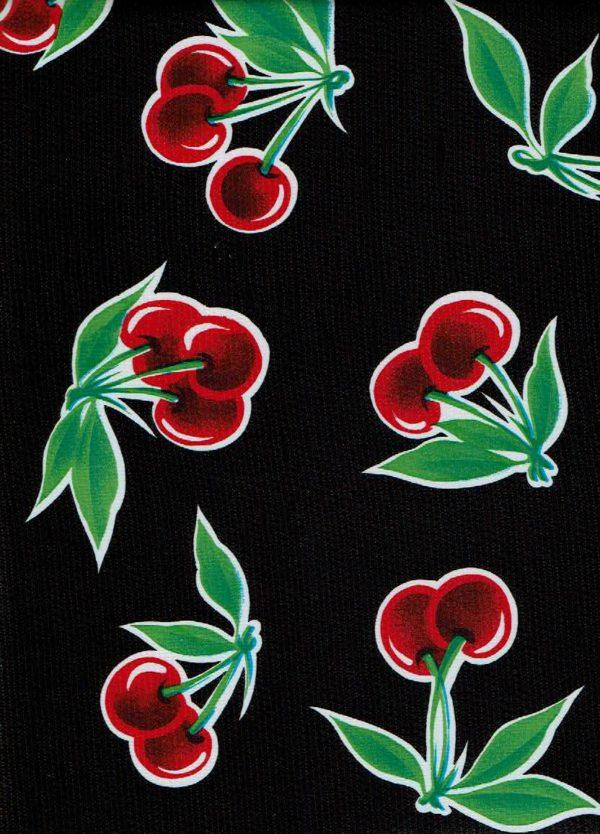 Round Oilcloth Tablecloth – Cherries on Black