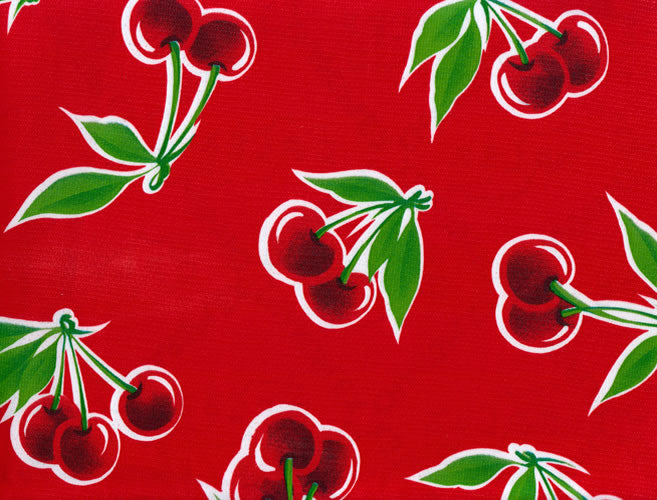 Mexican Oilcloth - Cherries on Red