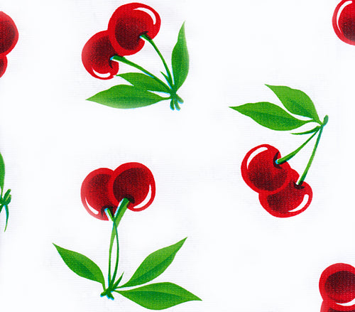 Mexican Oilcloth - Cherries on White